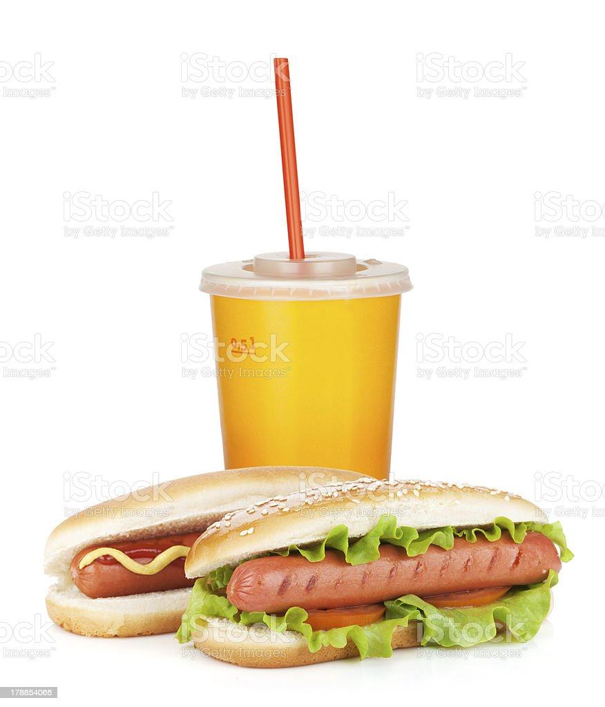 Fast food drink and two hot dogs royalty-free stock photo