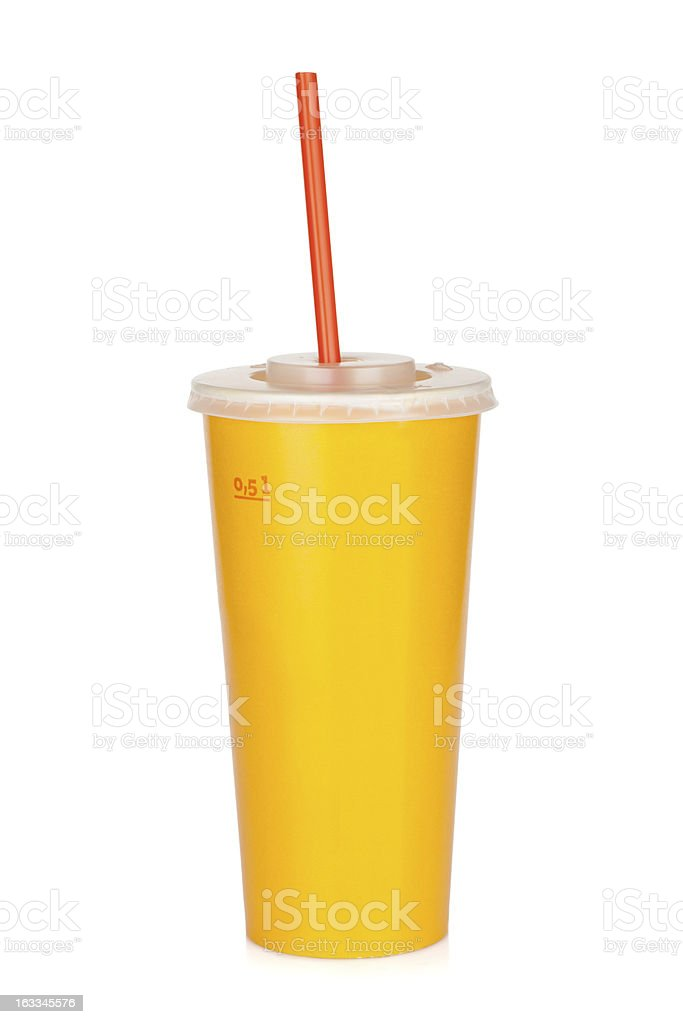 Fast food drink with straw royalty-free stock photo