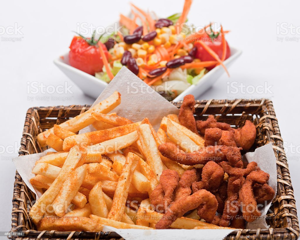 Fast food french fries and Chicken stock photo
