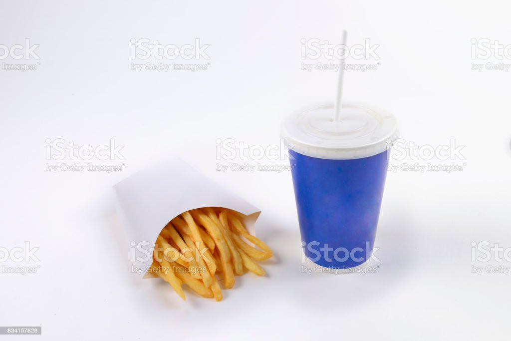 Fast food french fries and soft drink isolated on white background. stock photo