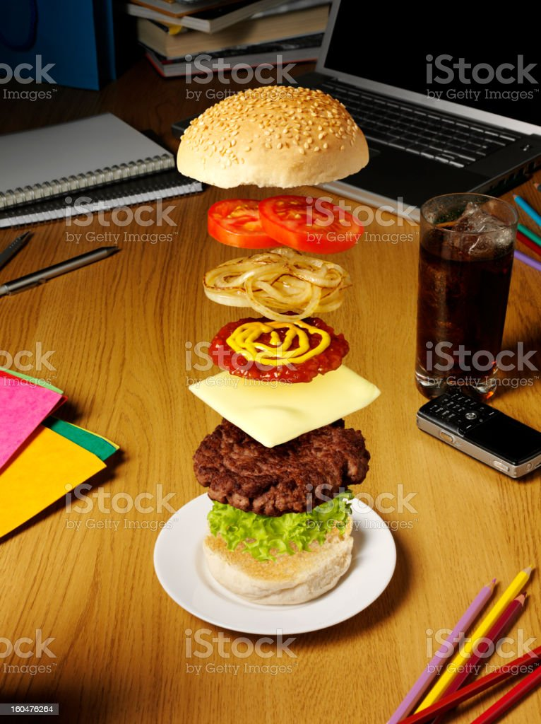 Fast Food in the Office royalty-free stock photo