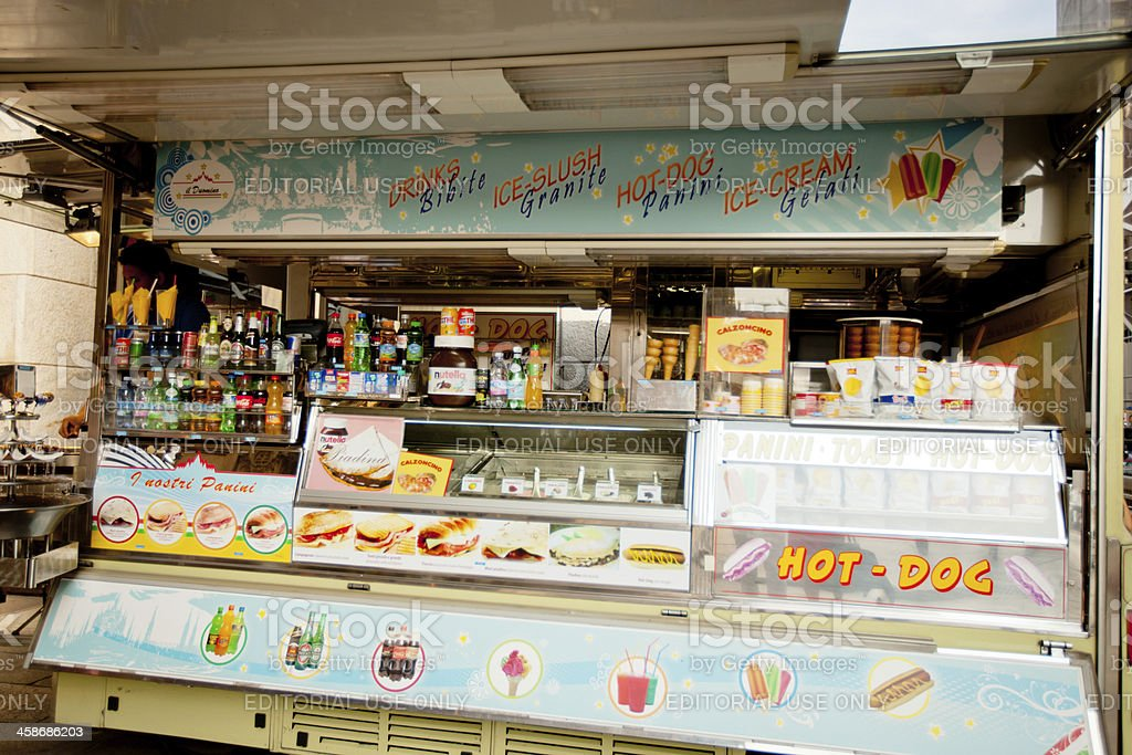 Fast Food Kiosk in Milan, Italy royalty-free stock photo