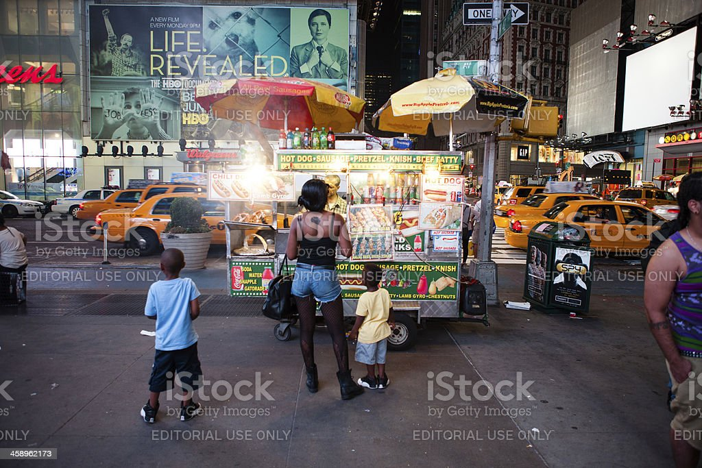 fast food kiosk on times square royalty-free stock photo