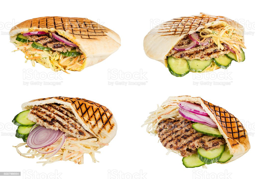 fast food meat with vegetables in pita stock photo