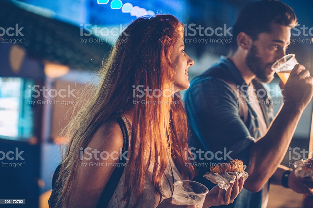 Fast food night stock photo