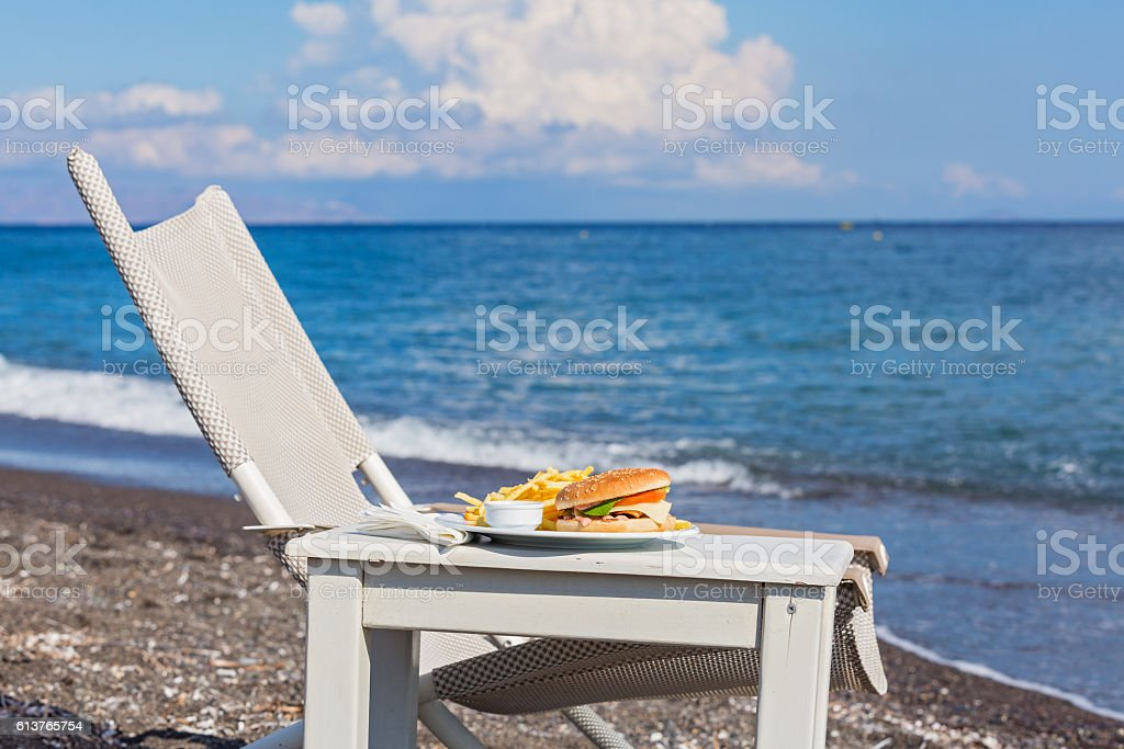 Fast food on the beach stock photo
