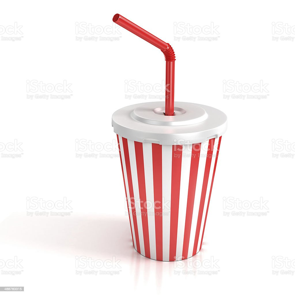fast food paper cup with red straw stock photo