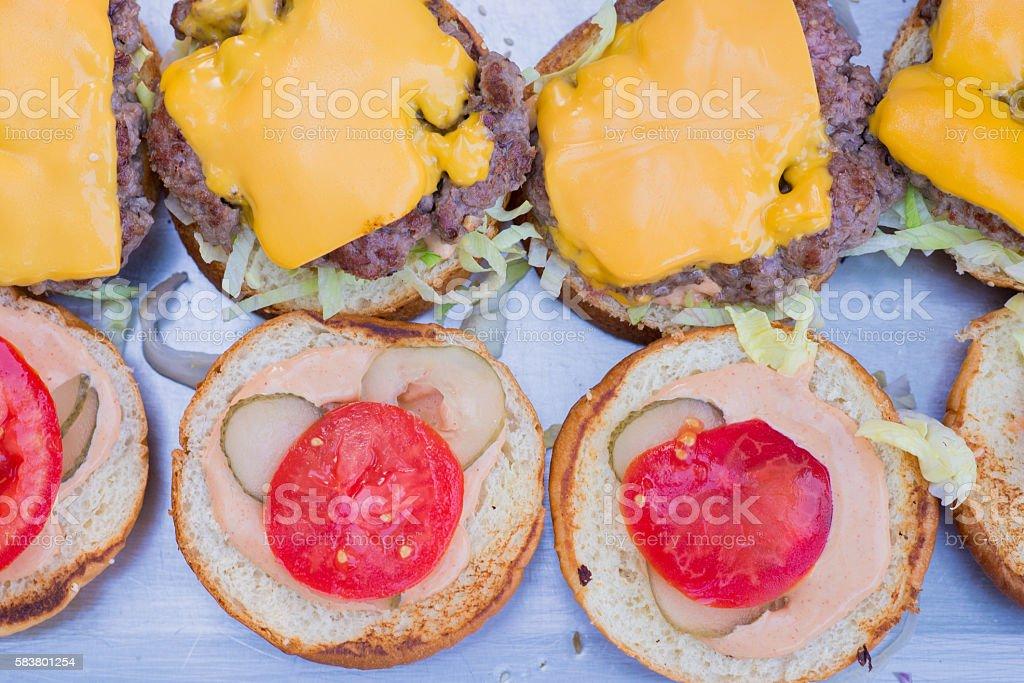 Fast Food Restaurant, Tasty dinner hamburges stock photo