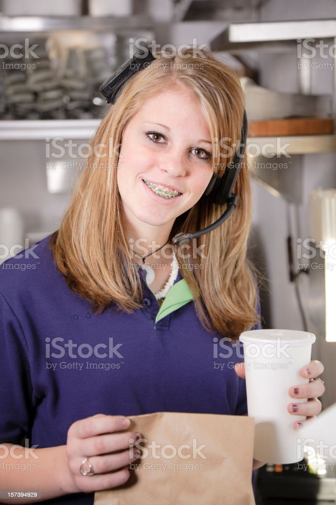 Fast Food Restaurant Worker royalty-free stock photo