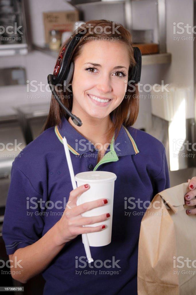 Fast Food Restaurant Worker stock photo
