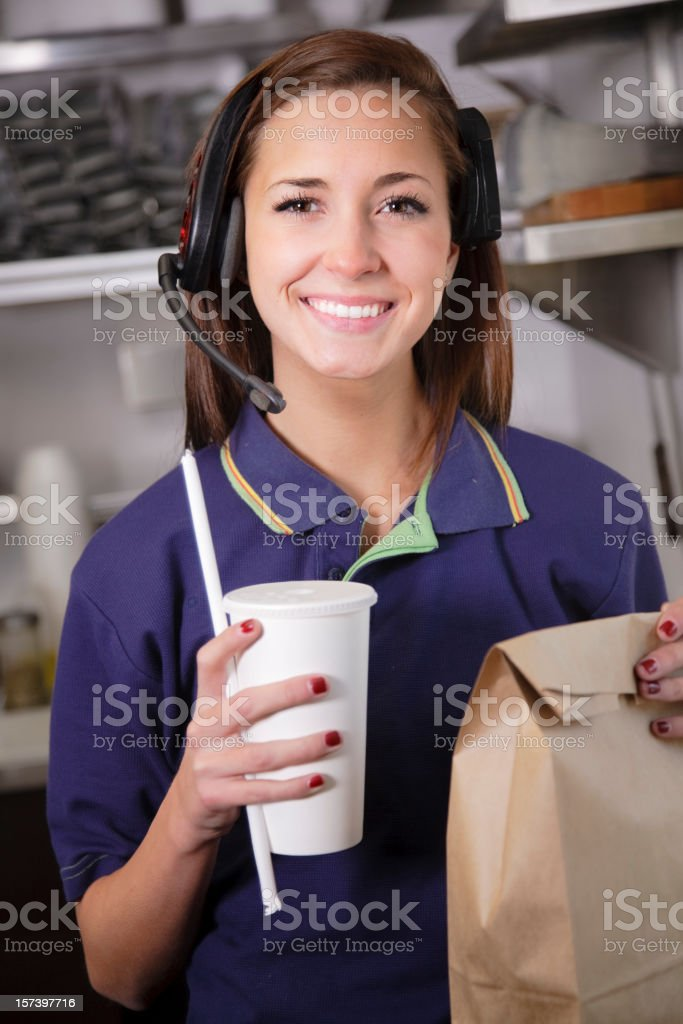 Fast Food Restaurant Worker stock photo