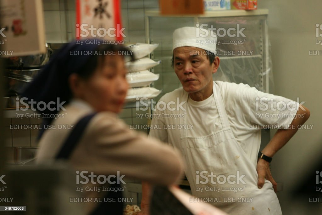 Fast food vendors at the end of the working day. stock photo
