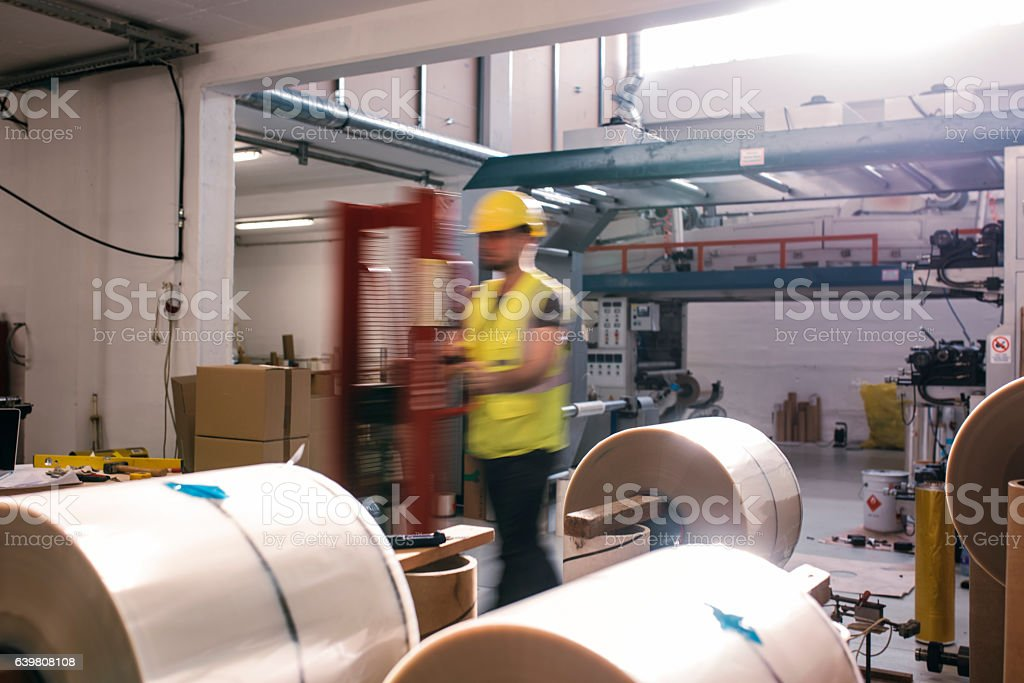 Fast forklift driver stock photo