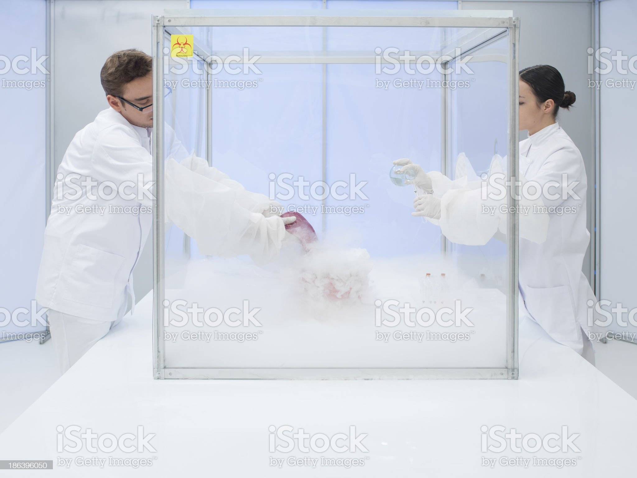 fast freezong biological matter in sterile chamber royalty-free stock photo