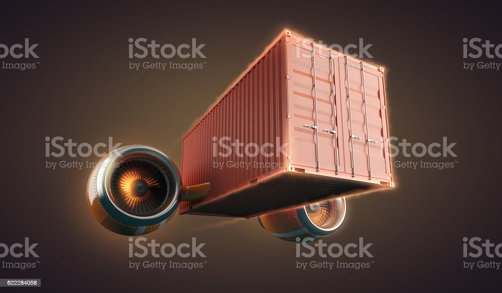 Fast freight container delivery goods and cargo  for logistics business stock photo