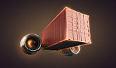 Fast freight container delivery goods and cargo  for logistics business