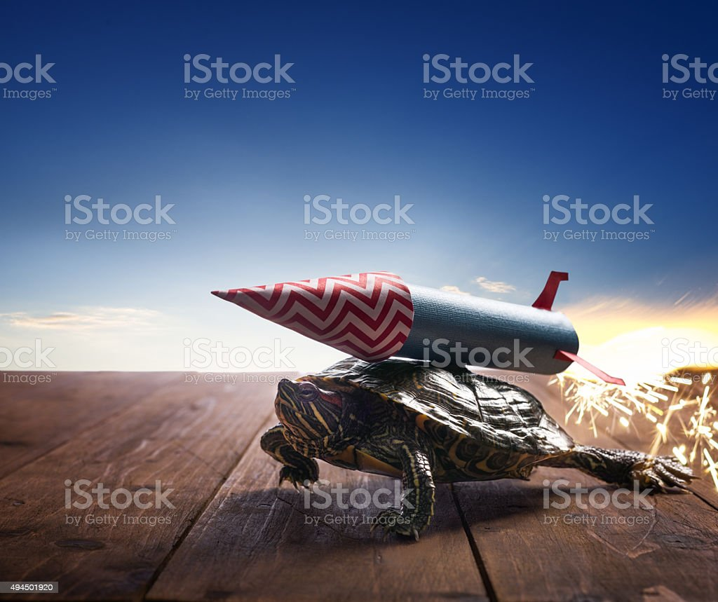 Fast hero turtle with rocket propulsion on blue sky stock photo