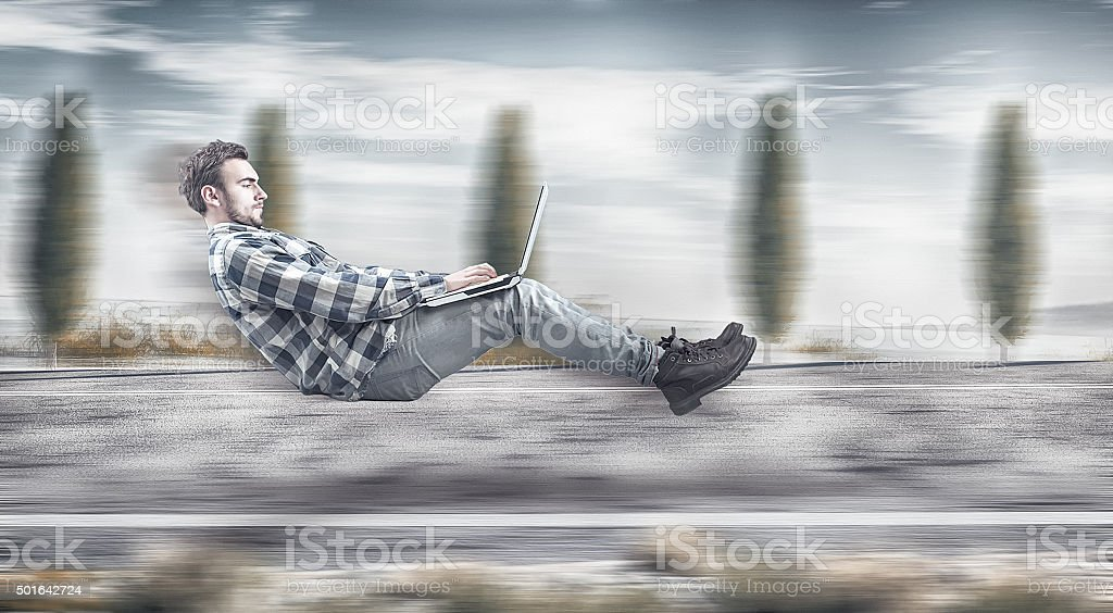 Fast levitating businessman stock photo