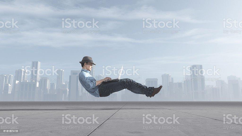 Fast levitating businessman stock photo