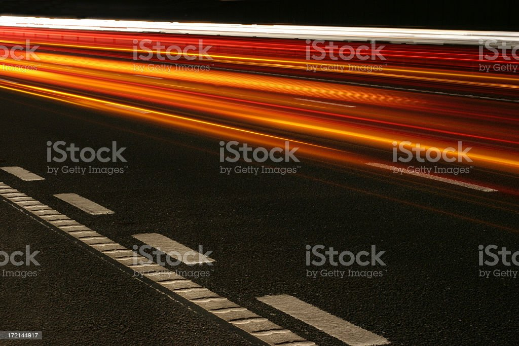 Fast motion image showing the movement of bright lights royalty-free stock photo