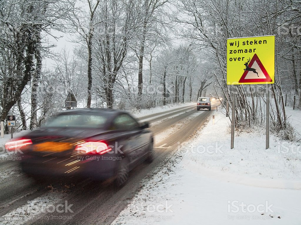 fast moving car brakes in a snow storm royalty-free stock photo