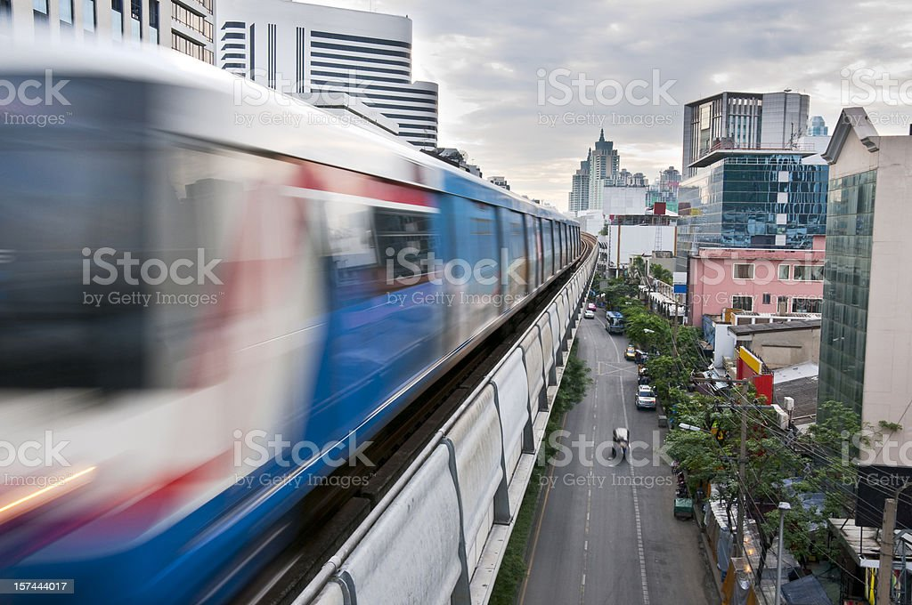 Fast Moving Elevated Train In The City Of Bangkok, Thailand royalty-free stock photo