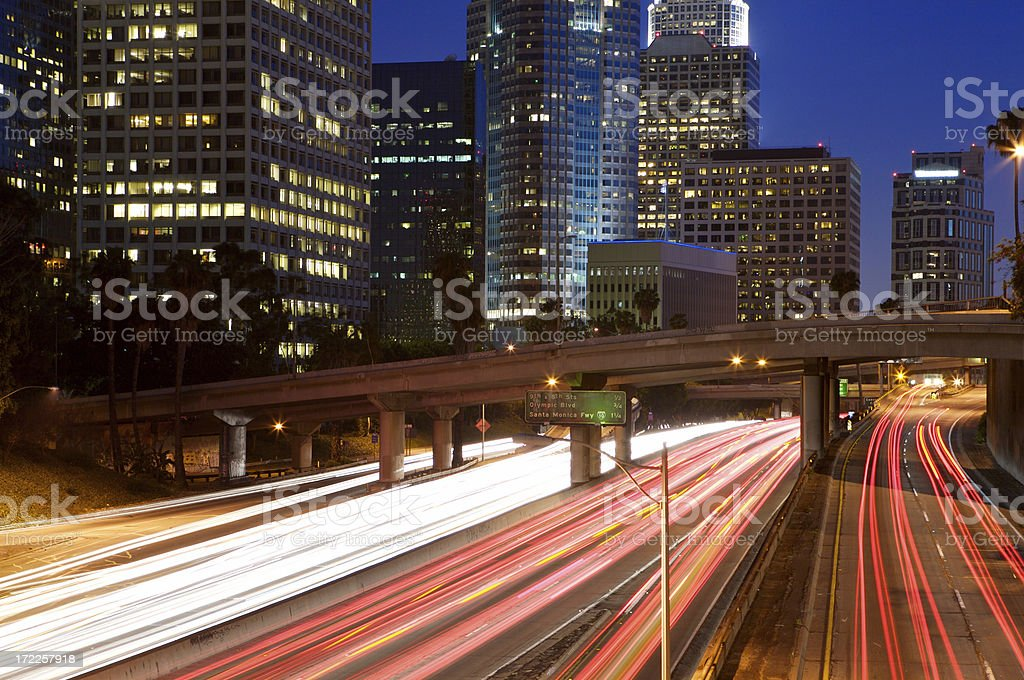 Fast Moving Freeway Traffic At night royalty-free stock photo