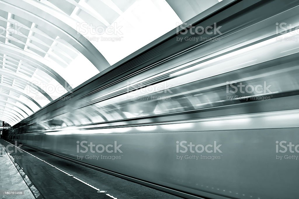 fast moving train by motion royalty-free stock photo