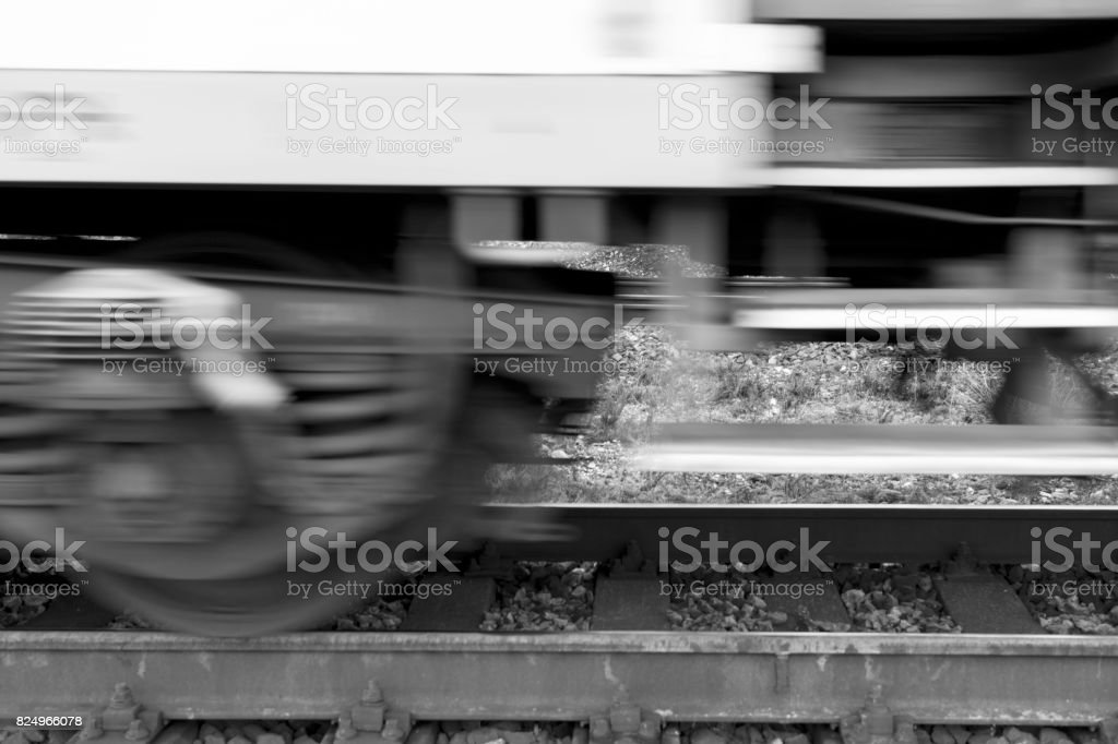 Fast moving train on railway. stock photo