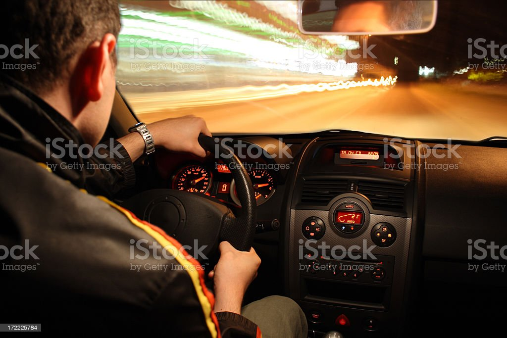 Fast night drive stock photo