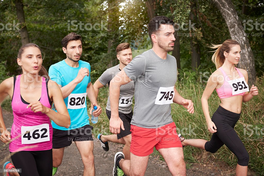 Fast participants in the marathon stock photo