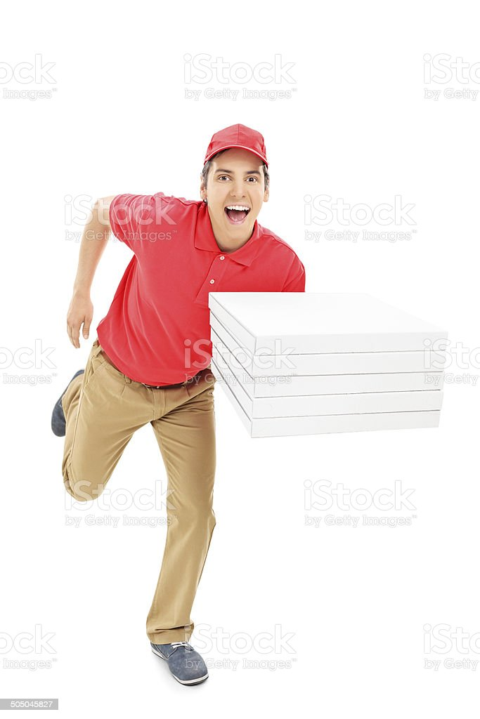 Fast pizza delivery guy running stock photo