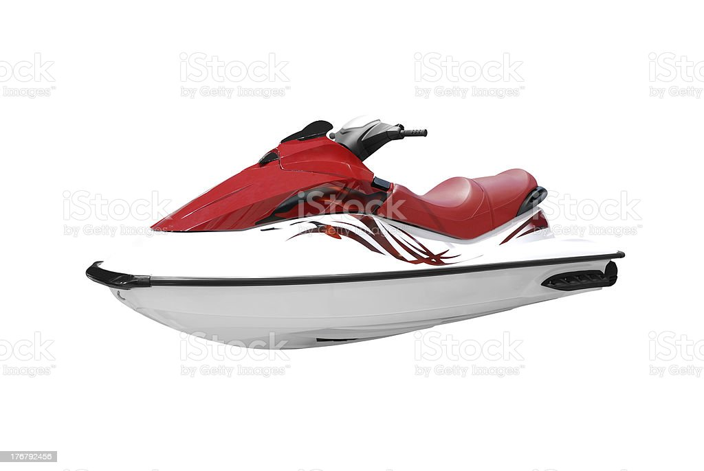 fast red and white jet ski isolated stock photo