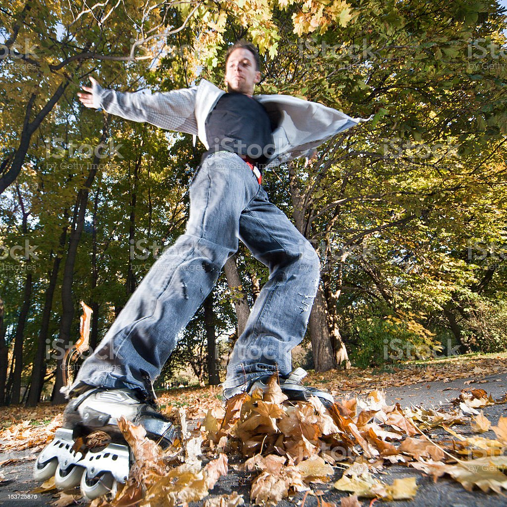 Fast rollerblading royalty-free stock photo