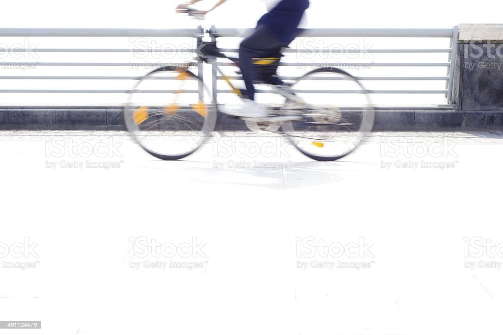 Fast running Bike on White Floor stock photo