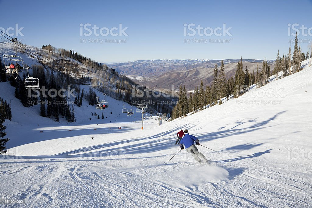 Fast Skiers at Aspen stock photo