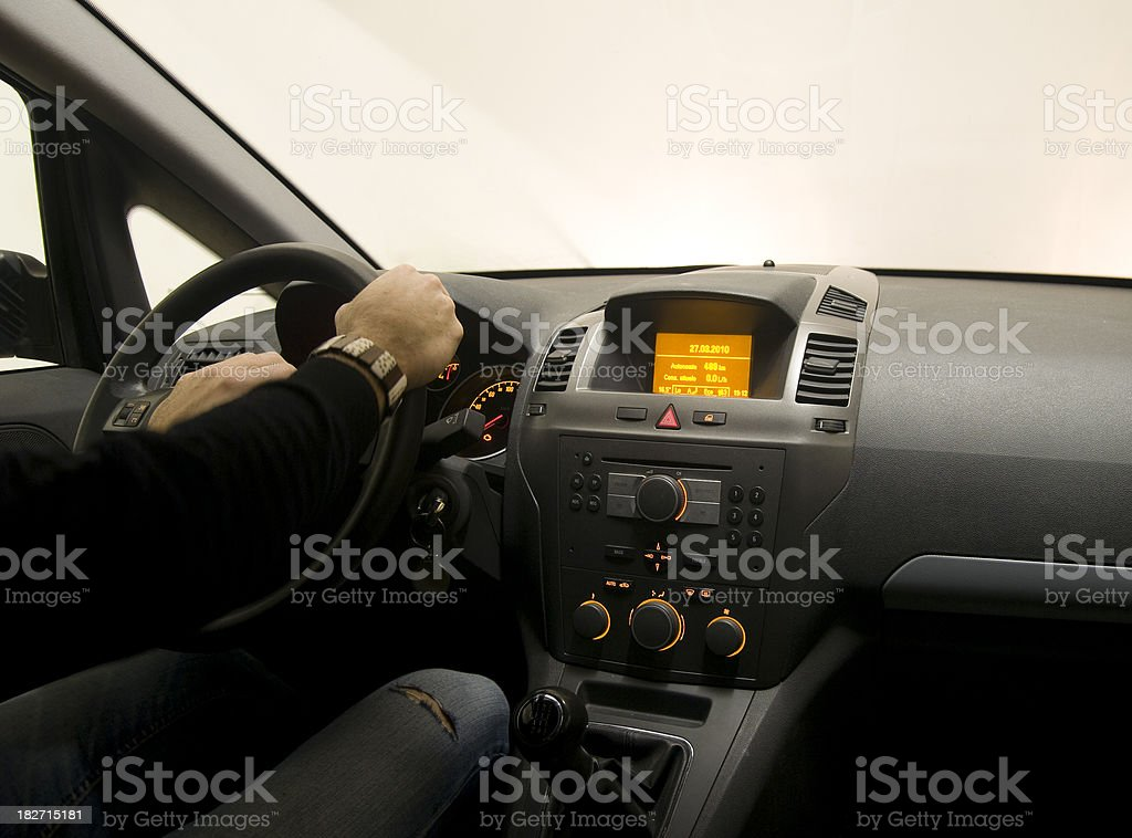 Fast speed night car driving on the garage, Interior view. stock photo