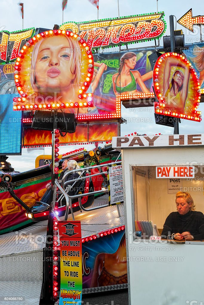 Fast spinning mechanical fun ride at Goose Fair. stock photo