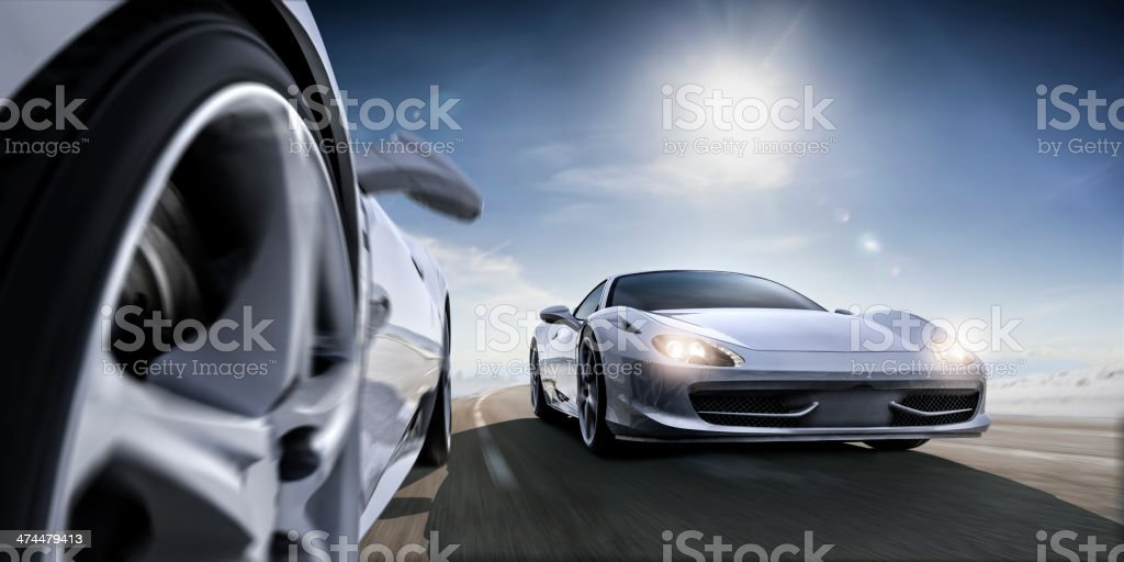 Fast Sports Cars in Extreme Close Up stock photo