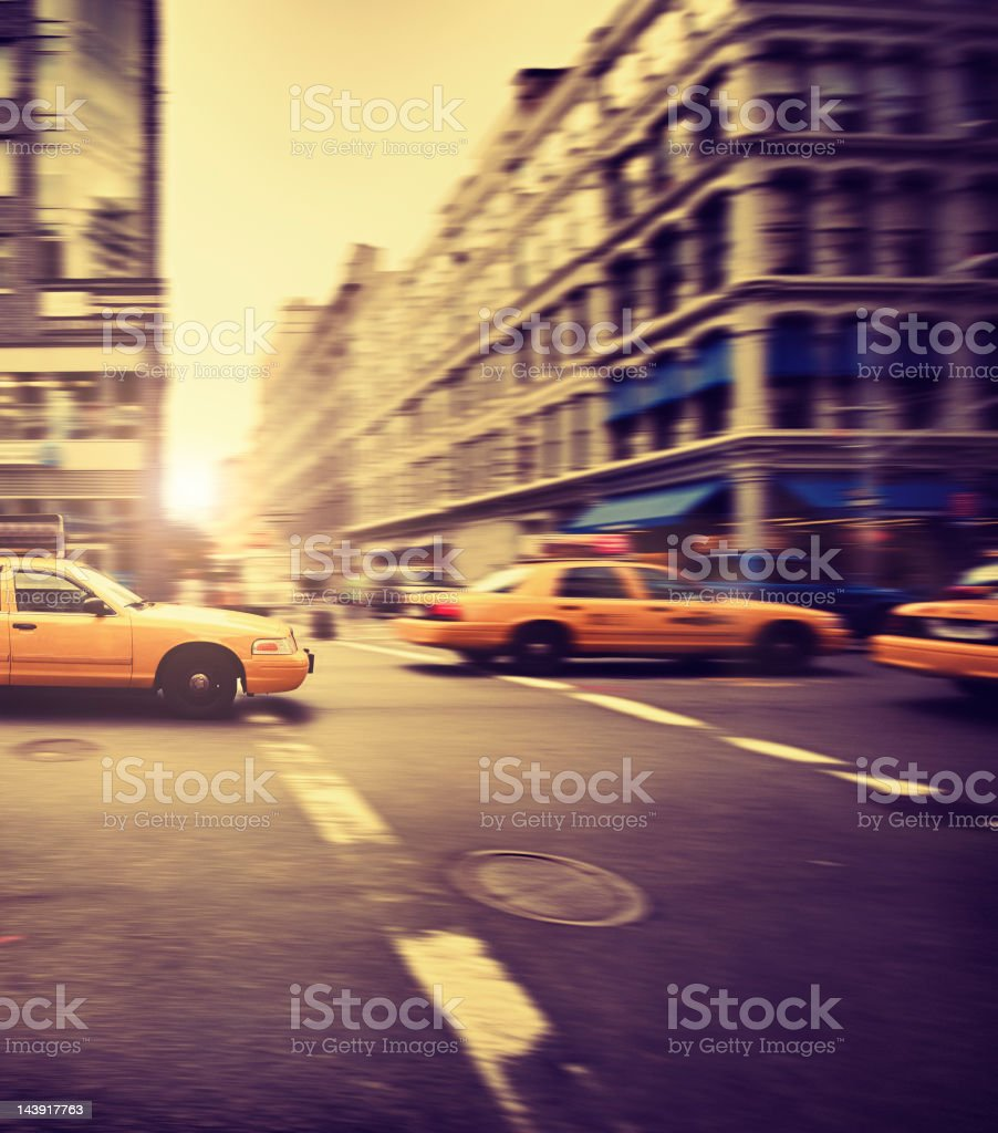 Fast Taxi cab panning in Manhattan at Susent - NYC royalty-free stock photo
