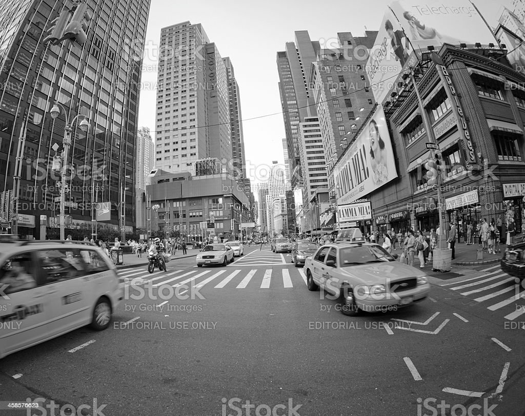Fast Taxi cab running in Manhattan - NYC stock photo