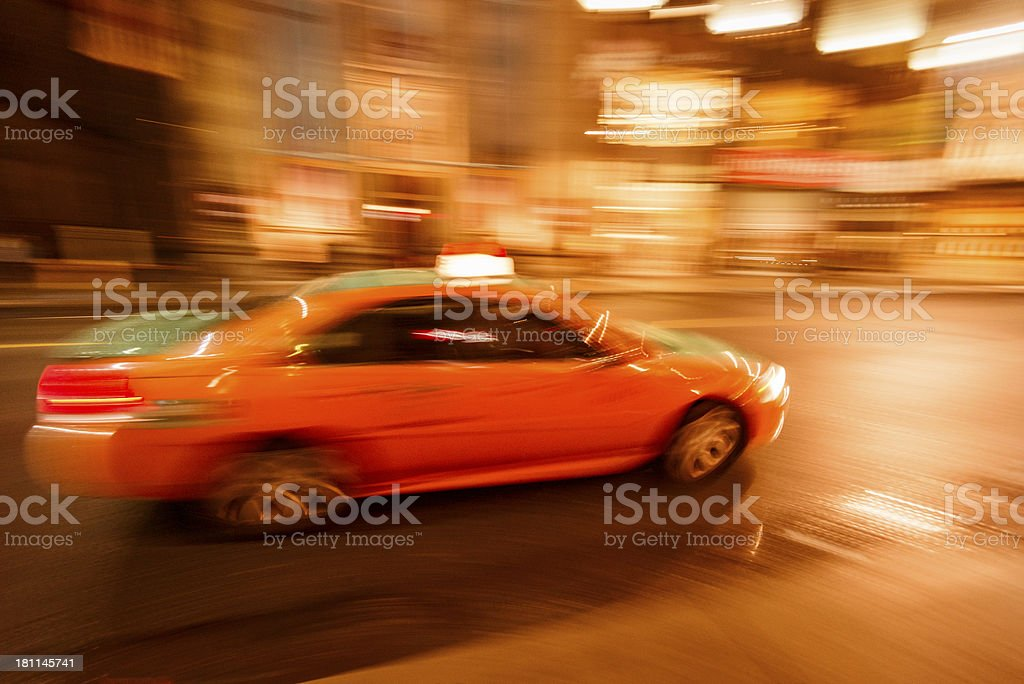 Fast taxi on nyc - motion blur royalty-free stock photo