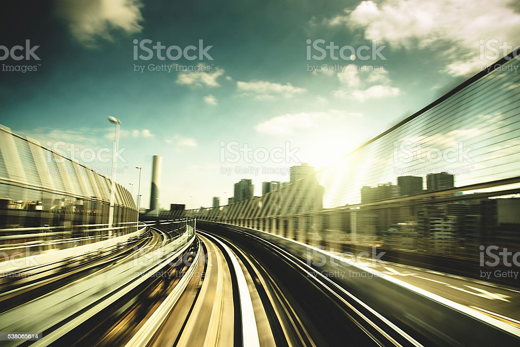 fast train on business area in Tokyo - Japan stock photo