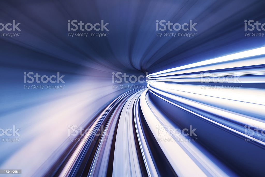 fast train thrgouh tunnel royalty-free stock photo