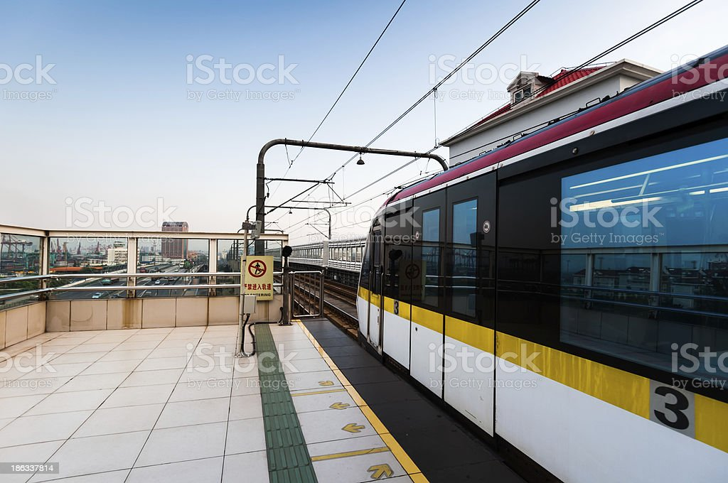 Fast train with motion blur. royalty-free stock photo