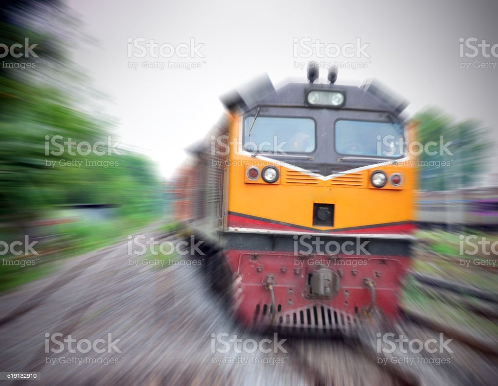 Fast train with motion blur stock photo