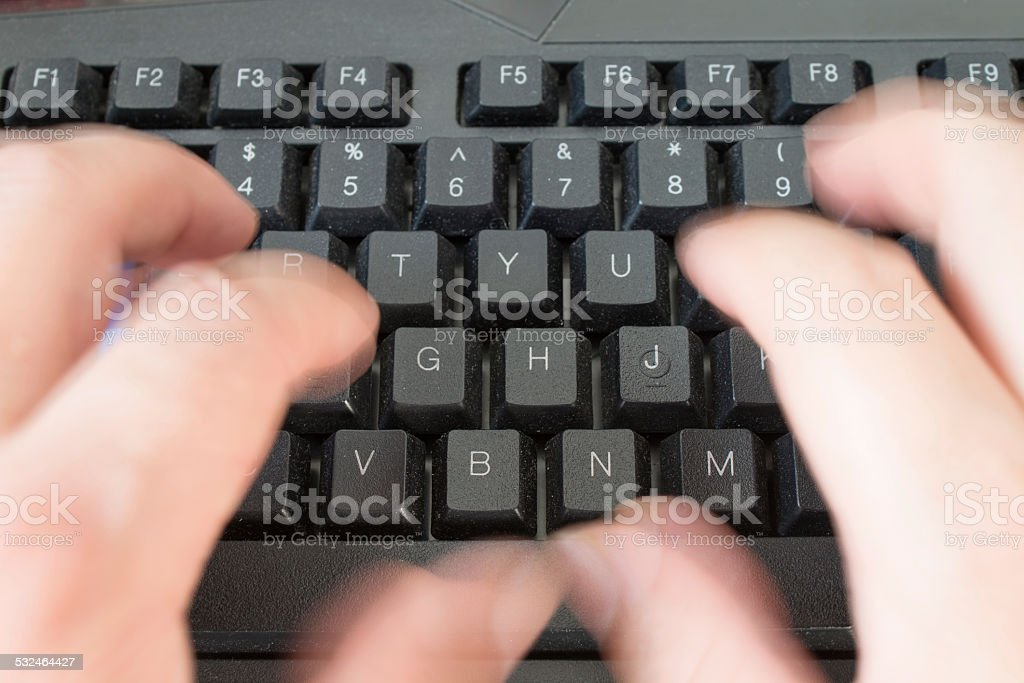 Fast typing stock photo