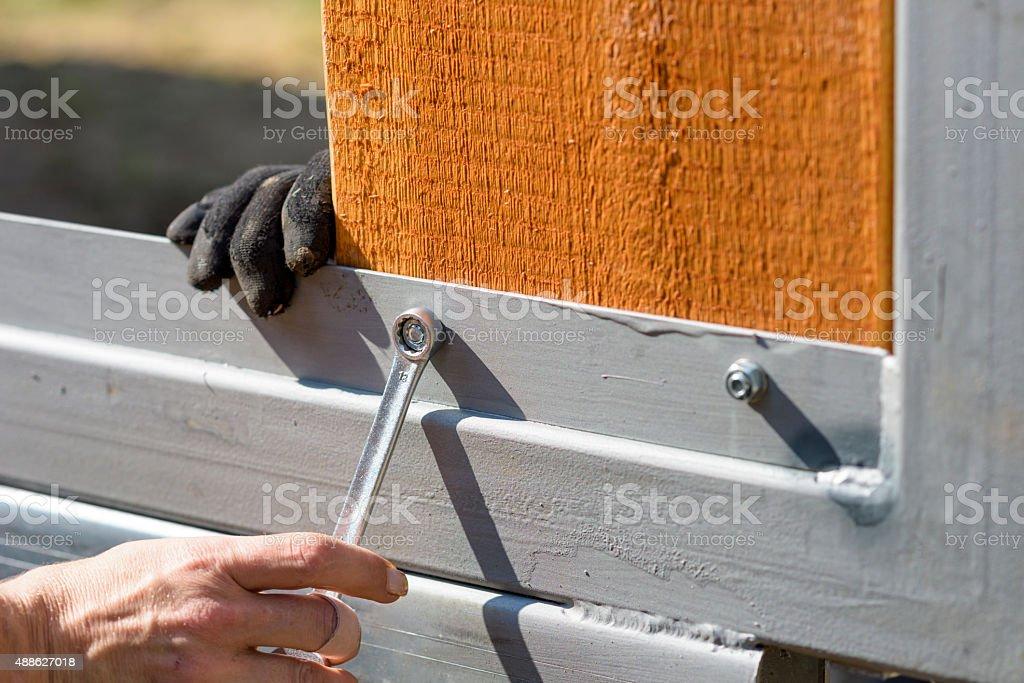 Fasten fence plank stock photo