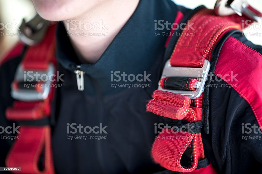 Fastened belts on a parachuter stock photo