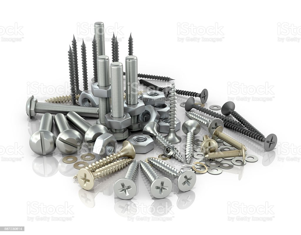 Fasteners, bolts, nuts and screws and screws on a white background.3D illustration stock photo